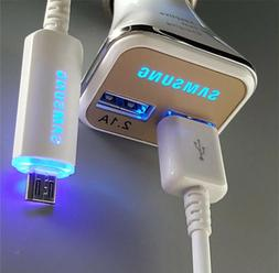 LED Adaptive Fast Car Charger& USB Cable For Samsung Galaxy