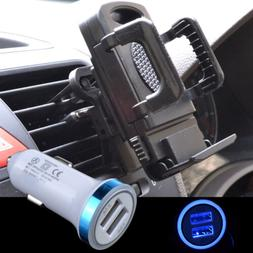 LED Car Charger+ Car Air Vent Mount Holder For iPhone X XR X