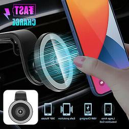 Magnetic Car Mount Wireless Charger Holder For iPhone 12/12