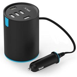 iXCC UL Certified 50W/10A 5 Port Car Charger, Cup Holder Mul