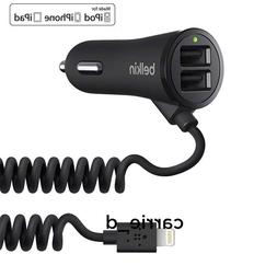 New Belkin 2-port USB Car Charger + Lightning Cable for ipho