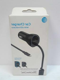 NEW AT&T Car Charger w. LED Indicator Lightening Apple Produ