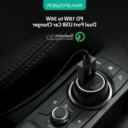 RAVPower PD 18W 36W Total Output Car Charger Quick Charging