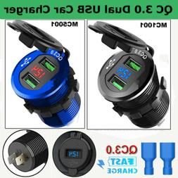 QC 3.0 Dual USB Fast Car Charger Socket Outlet W/ Voltmeter