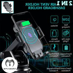 Qi Car Wireless Charger Clamping Mount Air Vent Phone Holder