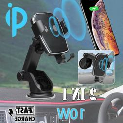 Qi Wireless Charger Car Charging Phone Mount Holder For Sams