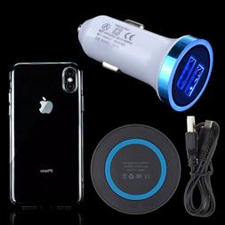 Qi Wireless Charging Pad+DC Car Charger+Hard Clear Case for