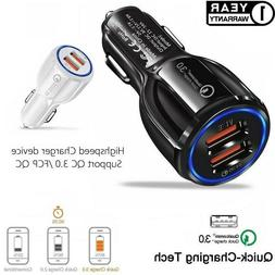 Fast Car Charger, 30W Qualcomm QC3.0 Certified 2 USB Port Fo