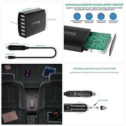 USB Car Charger, 50W 10A 6-Ports USB Charging Station with i