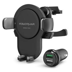 RAVPower Wireless Car Charger, Power Fast Charge Mount, Qi f